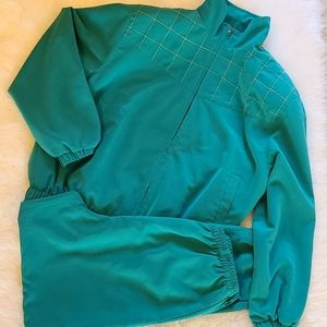 Vintage Patchington teal green track suit